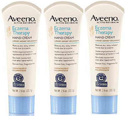 3 PACK of AVEENO Active Naturals Eczema Therapy Hand Cream 2.6 oz. Each ~ NEW