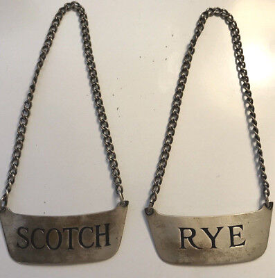 2 Lot Vintage Sterling Silver Charles Thomae Scotch Rye Wine Bottle Tag Labels