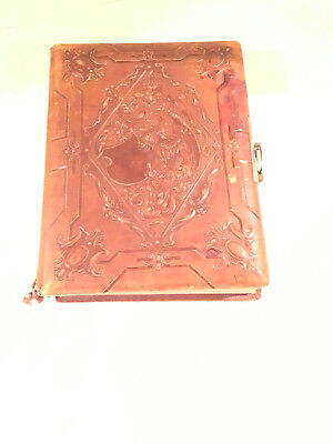 Vintage Embossed Leather Scrapbook Photo Album W Black White Photos