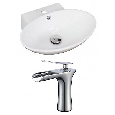 Ceramic Oval Vessel Bathroom Sink with Faucet and Overflow AMIM6639