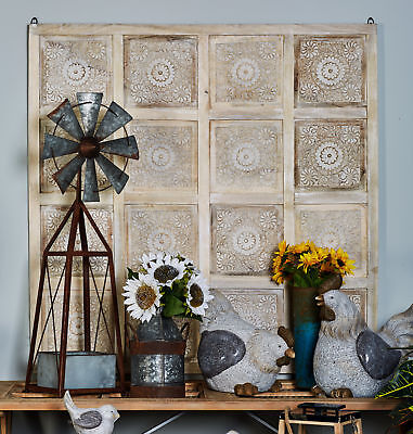 BUNGALOW ROSE TRADITIONAL Carved Floral Design Square Paneled Wall ...