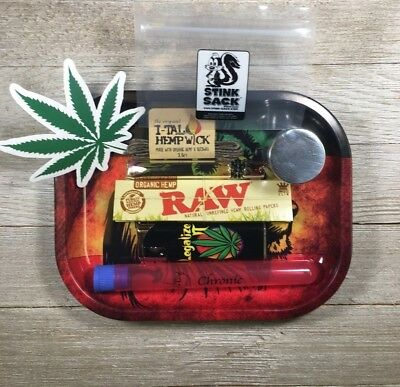 Grinder, Rolling Tray Chillum, Raw Rolling Papers, Hemp Wick Smokers Starter Kit