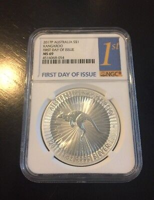 2017-P Australia $1 1 oz. Silver Kangaroo NGC MS69 First Day of Issue