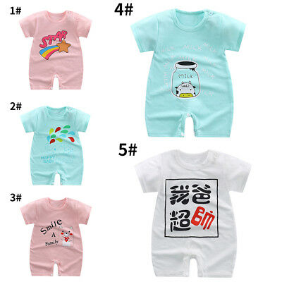 Baby Newborn Jumpsuit Short Sleeves Infant Outfits Pure Cotton Cartoon Costume