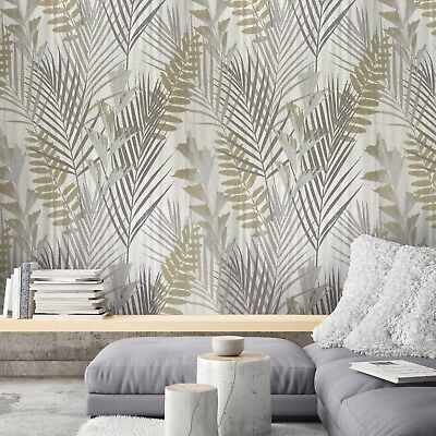 Wallpaper Roll Ivory Grey Gold Metallic Modern Floral Tropical Palm Leaves Trees