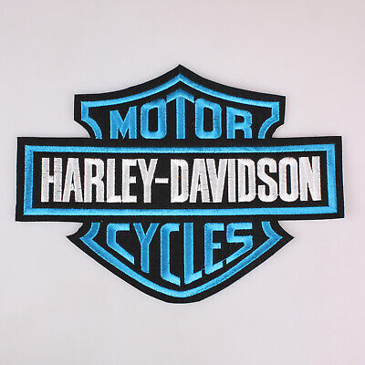 """Harley Davidson Bar And Shield Embroidered Patch Iron On Blue 9x6.8"""" 23x17Cm"""