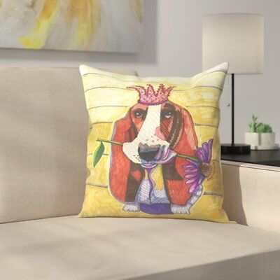East Urban Home Basset Hound With Flower Throw Pillow