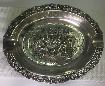 "1937 Dutch 833 Sterling Silver Repousse ' Men Gathering Scene Ashtray Size 4""x3"""