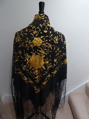 Antique Vintage Black Piano Shawl Gold Embroidery