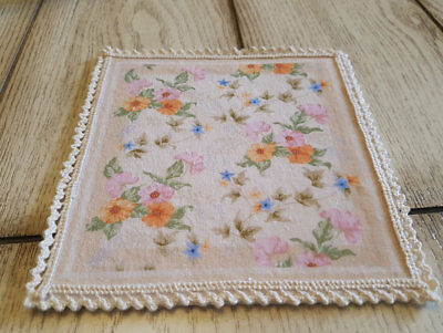 1:12 Dollhouse Square Shape Aubusson Rug Morning Glory Floral