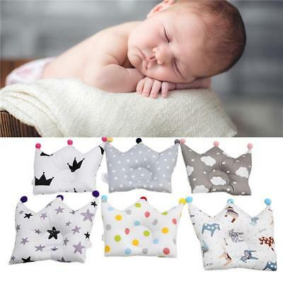 Cute Baby Pillow Baby Positioner Anti Roll Crown Shaping Flat Pillow Cushion 8C