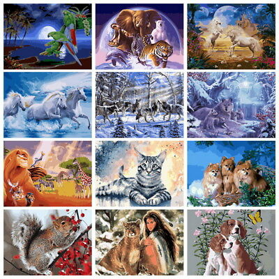DIY Acrylic Paint By Number Kit Digital Oil Painting Art Home Wall Decor Animals