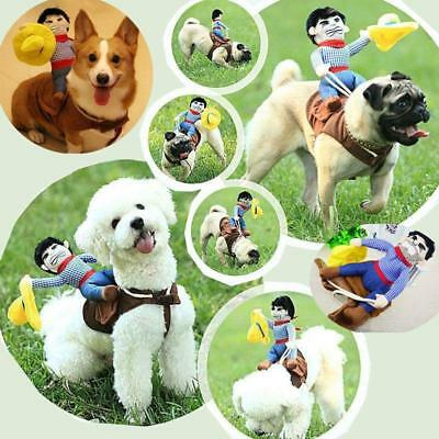 Funny Pet Dog Riding Horse Rodeo Cowboy Costume Halloween Party Costume Clothes