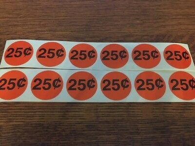 12 NEW 25 cent Vending Price Sticker for gumball candy toy bulk vending machines