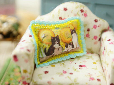 Kitties & Sunflowers 1:12 Scale Miniature Pillow For Dollhouse