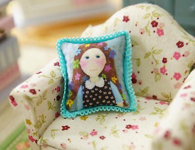 Cute Little Girl Miniature Pillow 1:12 Scale For Dollhouse