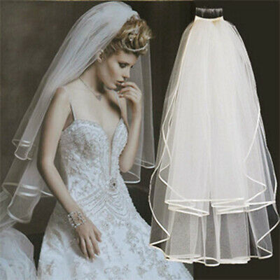 Comb Tiers Bling Wedding Bridal Elbow Veil White Ivory Sequins Crystal Bead Edge