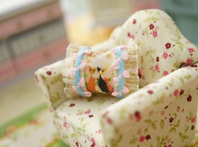 Cute Kitty Families Chic Shabby Dollhouse Miniature Pillow 1:12 Scale