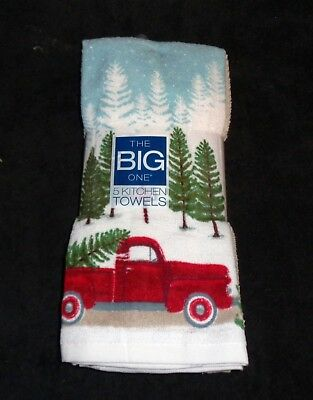 Red Truck Big Dish Towels - Kohl's - Size 16.5 x 26 Inches - Christmas Holiday