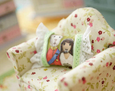 Cute Couple Of Mr. & Mrs. Hamster Dollhouse Miniature Pillow 1:12 Scale