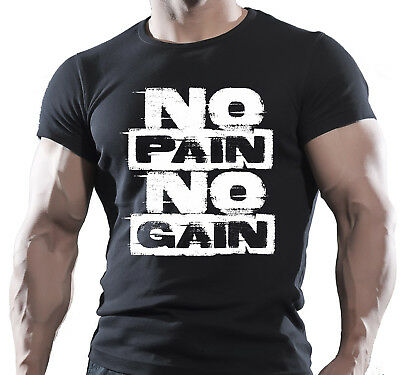 NO PAIN NO GAIN Mens MMA GYM BODYBUILDING MOTIVATION T-Shirt BEAST CLOTHING
