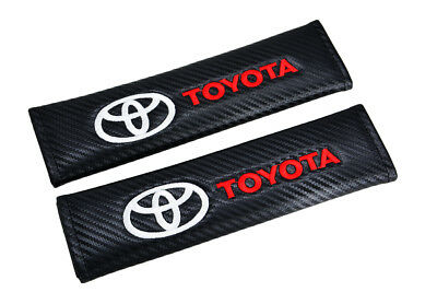 2X Carbon Look Embroidery Seat Belt Cover Shoulder Pads for TOYOTA CAMRY COROLLA