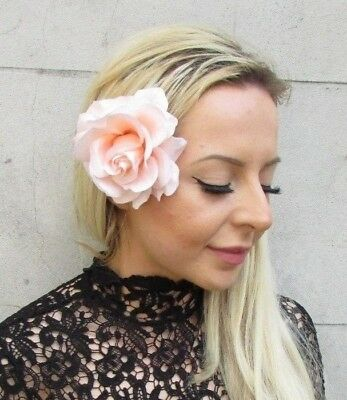 Large Blush Light Pink Peach Rose Flower Hair Clip Fascinator Races Wedding 5796