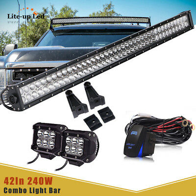 "40"" Behind Grille LED Light Bar+CUBE PODS+Rubber Isolator+Wire For 2011-14 Chevy"