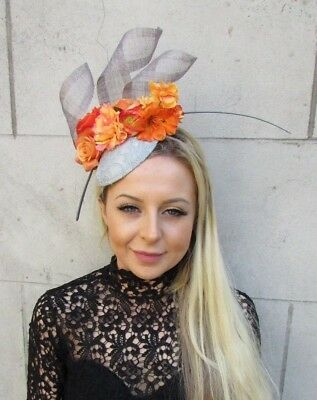Grey Orange Flower Feather Pillbox Hat Fascinator Races Wedding Hair Ascot 5797