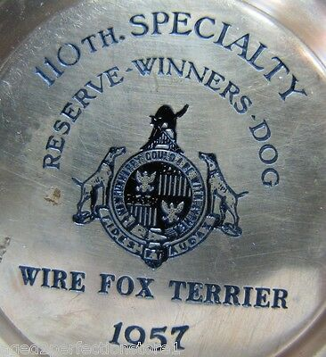 1957 WIRE FOX TERRIER Dog Show AWARD TROPHY Reserve Winners Dog 110th Specialty