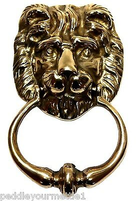 "Polished Solid Brass Lion Head Door Knocker 7"" w/ Brass Mounting Screw Heavy NEW"