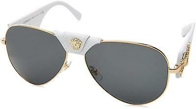 7a758a41a7 VERSACE Leather Unisex Sunglasses VE 2150Q 1341 87 Gold-White   Grey Lens