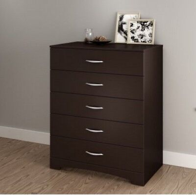 Chest Of Drawers Tall Brown Clothing Storage Bedroom 5 Drawer Wooden