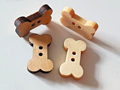 WOODEN DOG BONE CRAFT BUTTONS/EMBELLISHMENTS Dark or Light Wood - 18mm-Cards