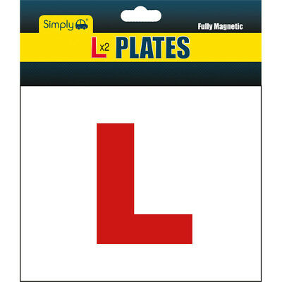 Genuine 2 x FULLY MAGNETIC Exterior Car Bike New Learner L Plates Secure & Safe