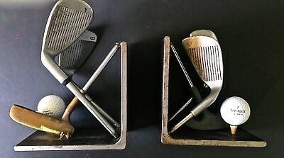 *fathers Day*the Golf Enthusiast Lot*1927 Vintage Trophy Lamp, Bookends And Game