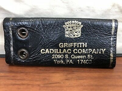 Vintage Hot Rod 1950's Griffith Cadillac Advertising Leather Key Chain York, PA.