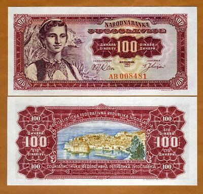 Yugoslavia, 100 dinara 1963, P-73, UNC > Woman is a traditional dress
