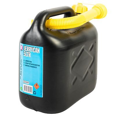 Black Plastic Jerry Fuel Can Petrol Diesel Water Container With Spout 5 Litre