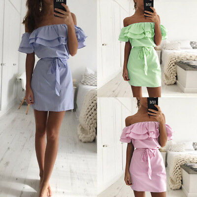 Summer Women Fashion Summer Casual Beach Mini Dress Ruffle Off Shoulder Clubwear
