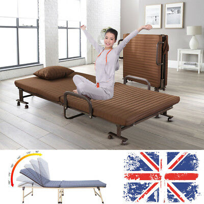 Cozy Metal Fold up Guest Compact Bed Folding Beds Adjustable Back with Mattress
