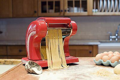 Weston Electric Pasta Machine, Red (01-0601-W),9 Adjustment Settings, Heavy Duty