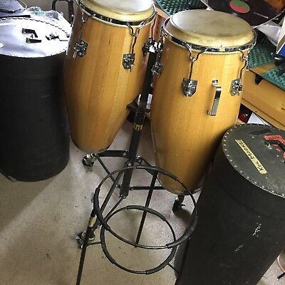 Vintage 1970's Two Valje Los Angles Red Oak Conga Drums Natural and Case + Stand