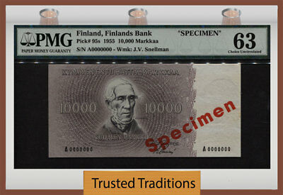 TT PK 95s 1955 FINLAND 10000 MARKKAA PMG 63 THE SOLE CERTIFIED EXAMPLE 4 OF 4!