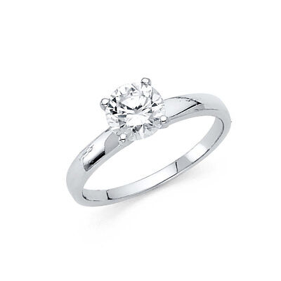 14K White gold 1 ct Brilliant Round Solitaire Engagement Wedding Promise Ring