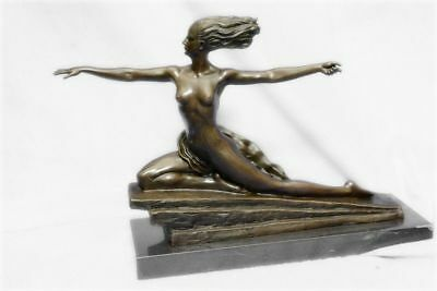 Large Heavy Bronze Art Deco Style Female Amazon Type Statue 30 Cm Tall Figurine