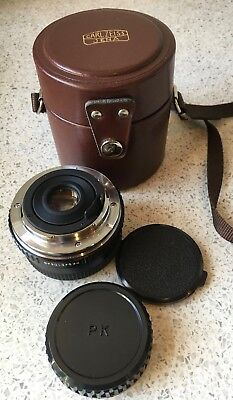 Carl Zeiss Jena Ii Mc Macro 28Mm F2.8 Wide Angle Lens Leather Case & Caps Pentax