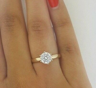 1.5 CT Round Cut Cathedral Solitaire Engagement Ring 14k Solid Yellow Gold