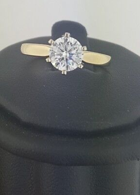 14k Solid Yellow Gold 1.5 CT Round Cut Solitaire Daimond Engagement Ring