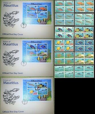 Mauritius Stamps Fishes 2000  Block Of 4 Mnh + Set Of Large First Day Cover